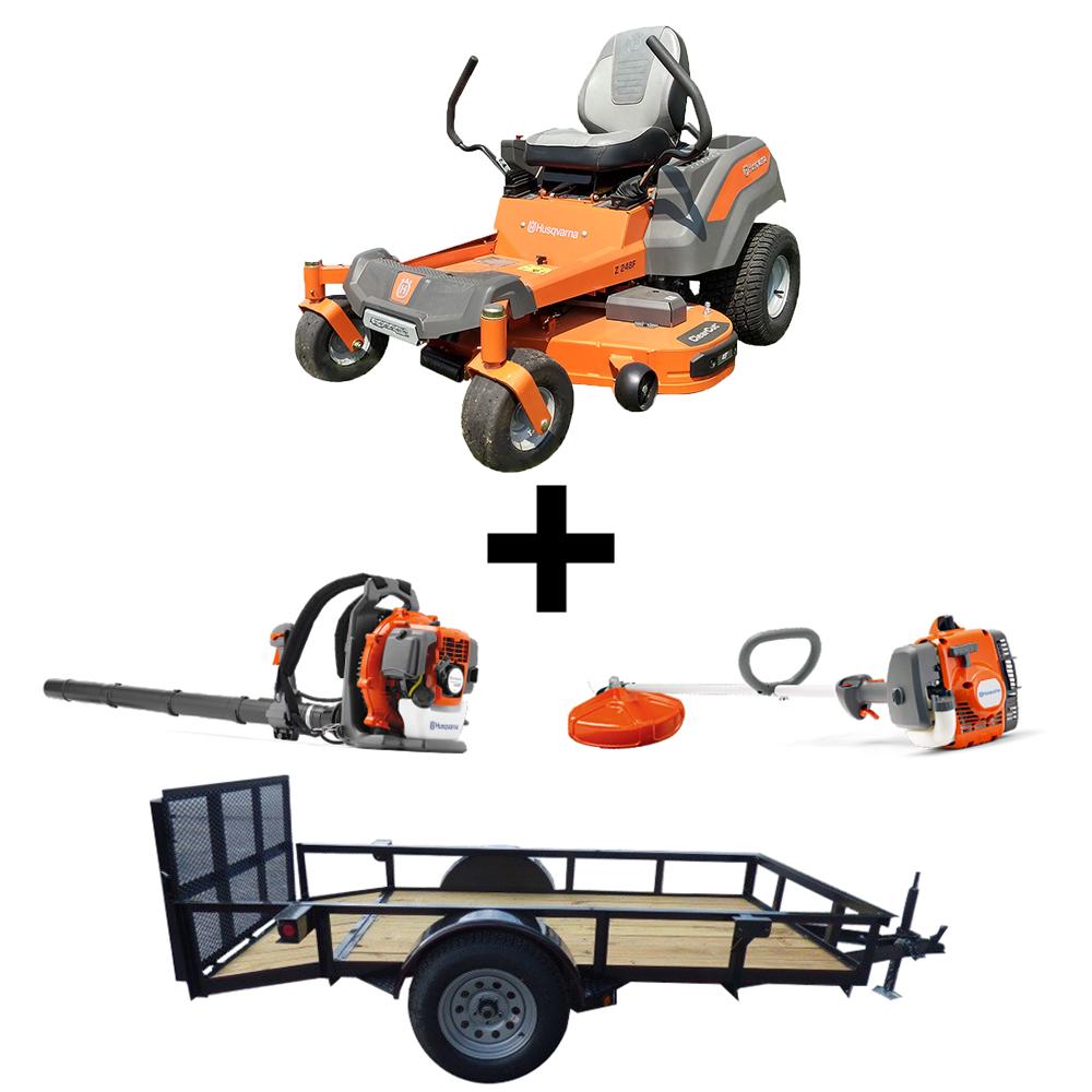 Details about Husqvarna Z248F Briggs Mower 5 x 10 Trailer 129L 130BT Pack